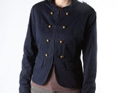 Blue Military Jacket steampunk marching band coat top blazer navy army button front military 80s goth