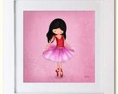 Girls Art Print nursery room decor Ballerina dancer Square
