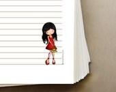 Printable papers binder filler set downloadable file, for writing letter, homework, doodles by Jolinne Instant download