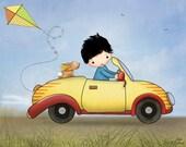 Boys art prints, kids room decor, children wall art, nursery wall art, boy, bunny, yellow car, original illustration