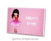 Personalized kids sign, ballerina wooden door plaque, girls room decor, nursery pink door sign, custom name sign,ballet dancer art