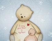 Nursery print, kids wall art, children room decor, emotional quote baby wall art I carry your heart nursery illustration teddy bears