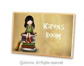 Personalized sign for kids room - door hanger, children room sign, book lovers sign , bibliophile kids, library welcome sign, kids art