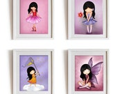 Girls nursery wall art print poster, kids room decor, art for kids, children art prints set on sale, pink purple room decor, fairy angel art