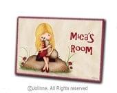 Personalized children door sign, girl with dog door hanger, puppy, kids art, custom wall sign