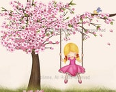 Girls room wall art, picture, kids wall art, cherry blossom tree, pink, nursery decor, girl swinging from a tree, children decor,kids art