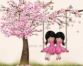 Art for sisters room,Kids Room Decor, African American sisters wall art print, Cherry blossom tree, twins, girls swinging, art for kids room