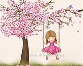 Kids room decor, cherry blossom tree art kids,baby Nursery Art , kids art decor,girl nursery personalized print, custom hair skin color
