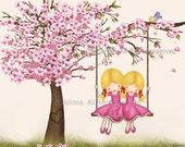 Sisters wall art, art for girls room, twin sisters illustration, cherry blossom art, nursery decor girl, playroom art, kids room art