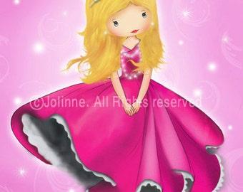 Princess wall art, personalized childrens room decor, baby nursery art, pink princess room,girls wall art print, decorate kids room