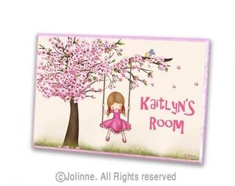 cherry blossom Personalized door sign custom door sign girls door plaque drawing illustration kids door plaque girls wall art kids room art