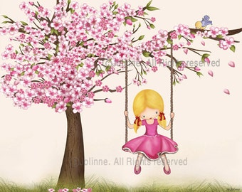Girls room wall art, cherry blossom tree art,picture for kids bedroom, pink nursery decor, girl swinging from a tree,children decor,kids art