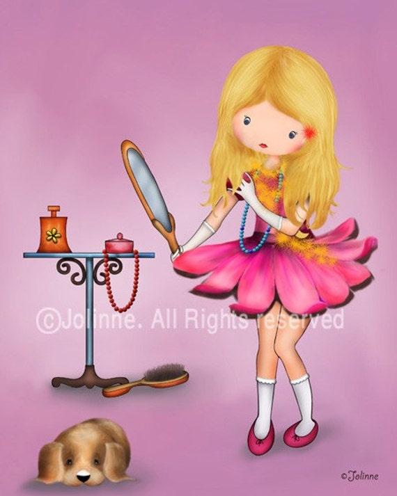 Little Girls Wall Art Print Kids Room Poster Girls Pink Room