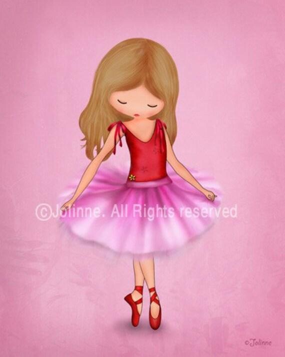 Girls ballet pink art print, Nursery art, Dancing ballerina bedroom decor, recital, kids wall hanging