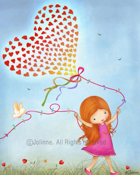 Kids art print, nursery wall art, children art, red head girls, hearts balloon art, inspired by nature poster, kids art, girls nursery art
