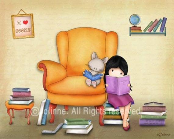 Girl Books art prints for children's room,Reading room posters, book nook decoration, preschool library art, reading books illustration art
