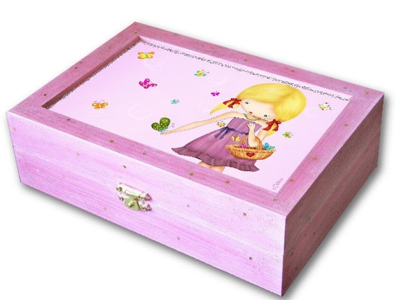 Girls big wooden jewelry keepsakes box handmade pink by for Girls large jewelry box