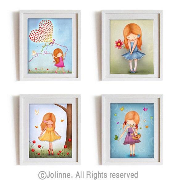 Wall Art For Kids red head girl art prints set kids wall art children room