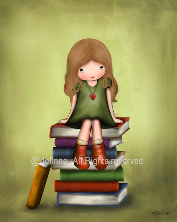 Children's Book Art Library Wall Decor Girls Illustration Girl on Books Artwork For Kids Room Book Nook Reading Room Custom Hair Skin Color