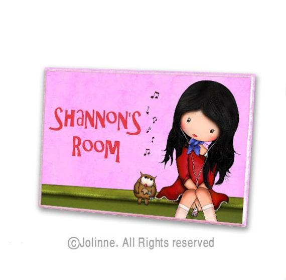 Personalized kids door sign , owl door hanger , girls room decor personalized name wall art, kids wall art