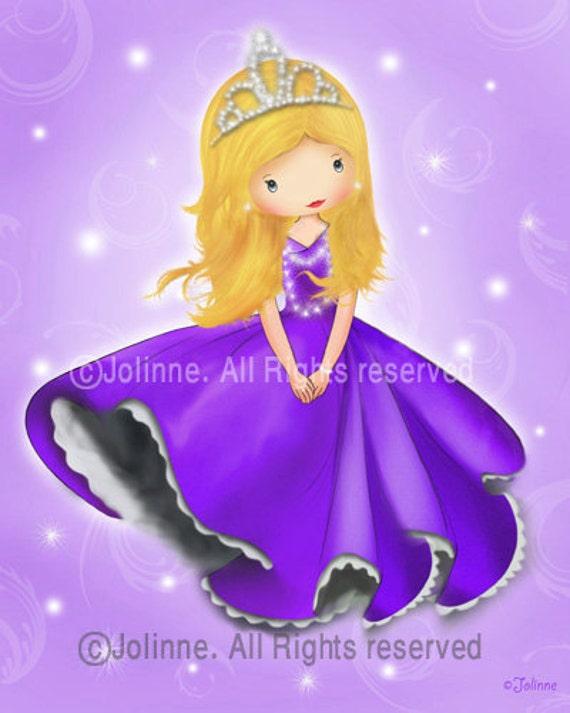 Princess art for girls room, princess room decor, purple princess picture, pink princess room, girls room art, princess nursery,illustration