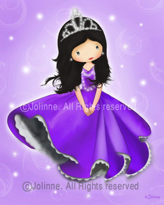 Children's art print - Princess wall art, baby nursery decor, purple