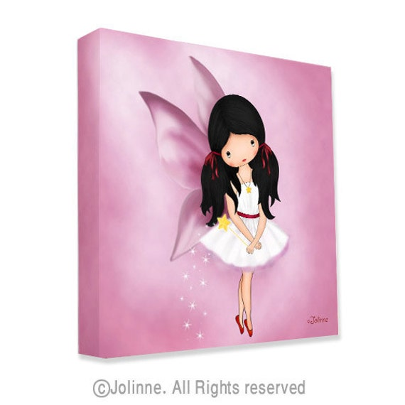 Items similar to childrens room art canvas print angel fairy wall decor pink room decor for Canvas prints childrens bedrooms
