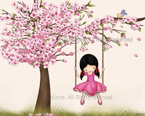 Girls Wall Art girls room wall art cherry blossom tree artpicture for kids