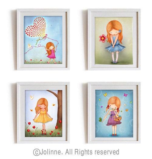 Childrens Wall Decor Canvas : Red head girl art prints set kids wall children room