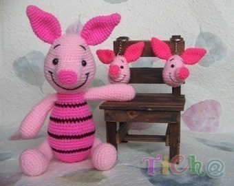 Piglet pink 12inches - PDF amigurumi crochet pattern