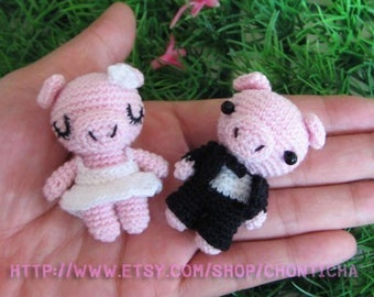 Miniature Piggy Wedding doll - PDF amigurumi Crochet Pattern
