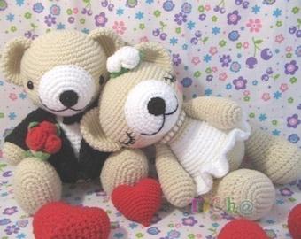 Cute Bear wedding - PDF crochet pattern