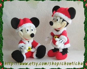 Mickey Mouse and Minnie Mouse (SANTA) 10 inches - PDF amigurumi crochet pattern