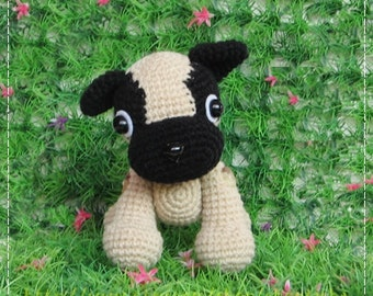 Little PUG doggy 6 inches - PDF crochet pattern