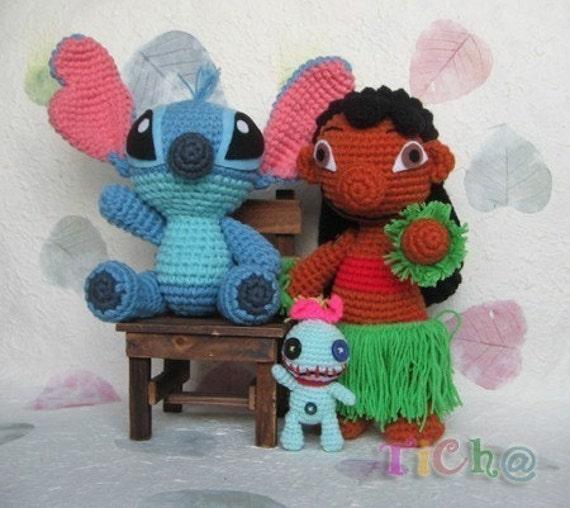 Lacy Knit Patterns : Lilo and Stitch set PDF crochet pattern
