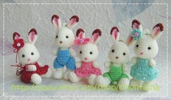 Mini Amigurumi Crochet Patterns Free : Mini Rabbit 2.5inches PDF amigurumi crochet pattern by ...