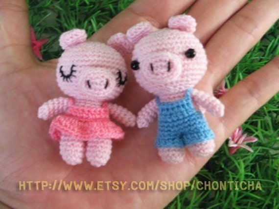Crochet Mini Doll Pattern : Miniature Piggy doll PDF Crochet Pattern