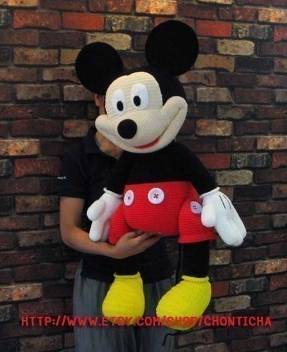 Mickey Mouse Amigurumi Crochet Pattern : Mickey Mouse 35 inches PDF amigurumi crochet pattern