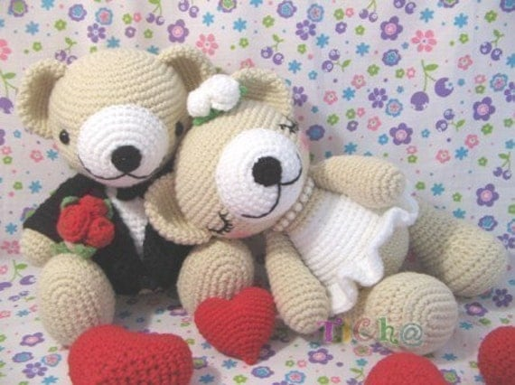 Cute Bear wedding - PDF crochet pattern