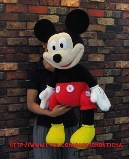 Mickey Mouse En Amigurumi : Mickey Mouse 35 inches PDF amigurumi crochet pattern