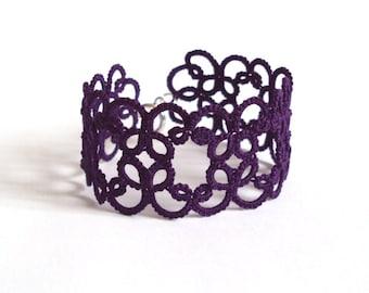 Purple Lace Bracelet in Tatting - Filigree Design - Goth Jewelry - Christina