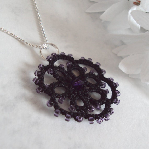 Gothic Lace Pendant in Tatting - Aster - One Of A Kind
