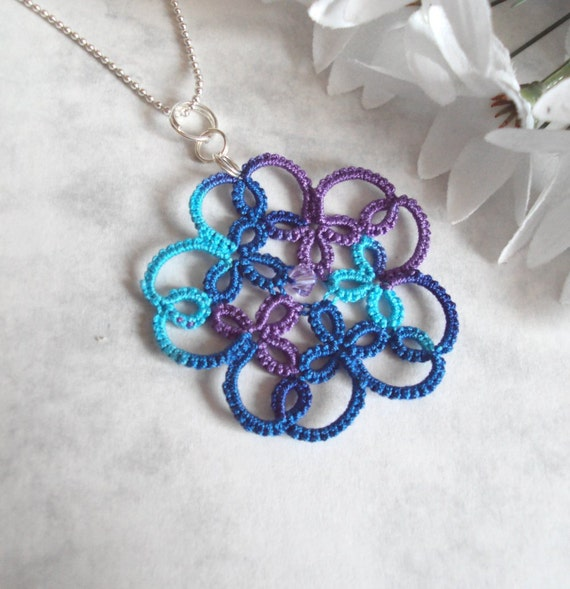 Lace Flower Pendant in Tatting - Isabella - One Of A Kind