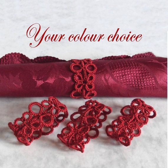 Lace Napkin Rings in Tatting - Your choice of colour - Set of Four - Eva - More Colours Added