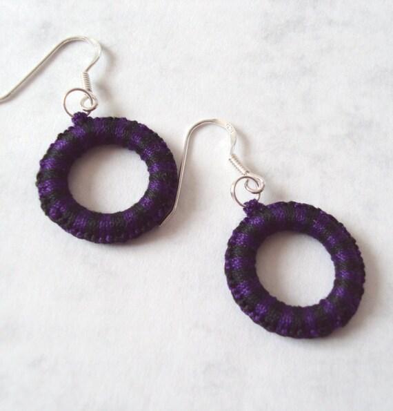 Dangle Earrings Purple , Black in Tatting - Alys