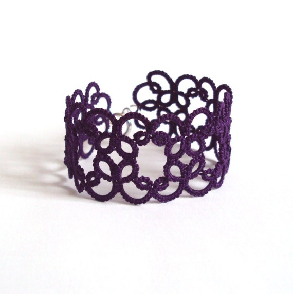 Purple Lace Bracelet in Tatting - Filigree Design - Goth Jewelry - Christina
