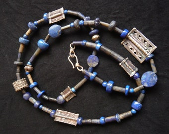 Long Lapis Lazuli and ehnic Silver Necklace