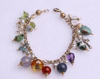 14K GF Gemstones from The Bible Double Strand Gemstone Bracelet