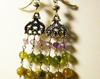 LIQUIDATION SALE======  Sterling Silver Amethyst - Peridot - Grossular Garnet Chandelier Earrings