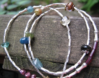 SALE - Silver, GF, and Multi Gemstone Triple Wrap Bracelet